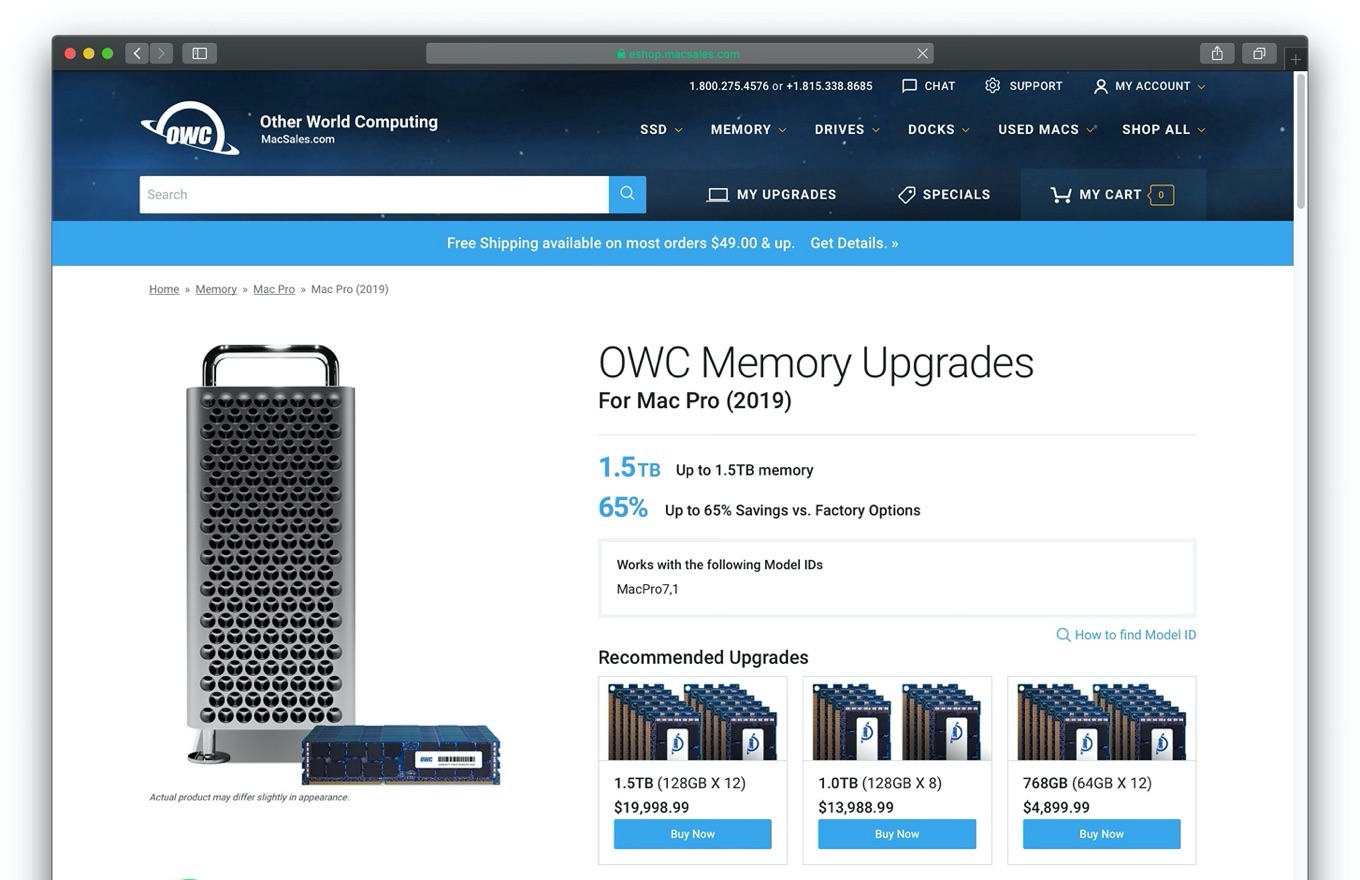 OWC Memory Upgrades for Mac Pro 2019