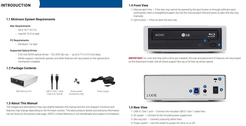 OWC Mercury Proの説明書。