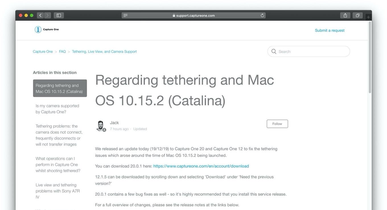 Regarding tethering and Mac OS 10.15.2 (Catalina)