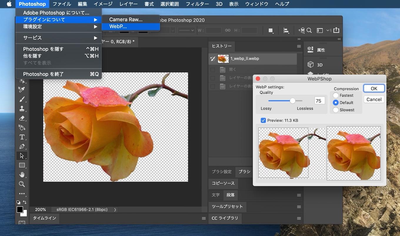 Adobe PhotoshopでWebPフォーマットを保存
