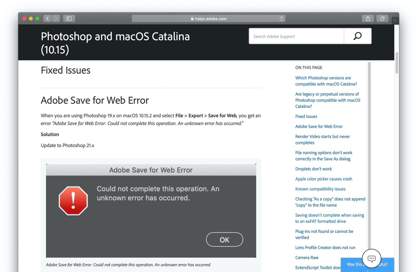 Adobe Save for Web Error on macOS 10.15.2