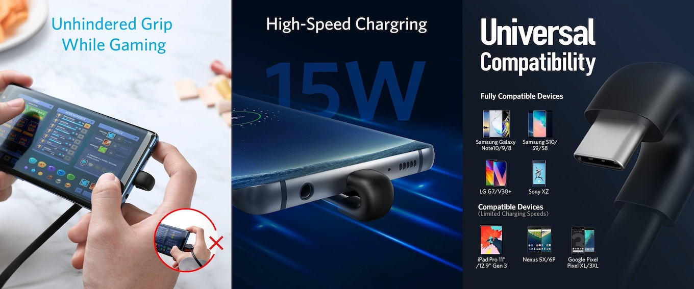 Anker 180 Degree Right Angle USB A to USB-C Gaming Cord
