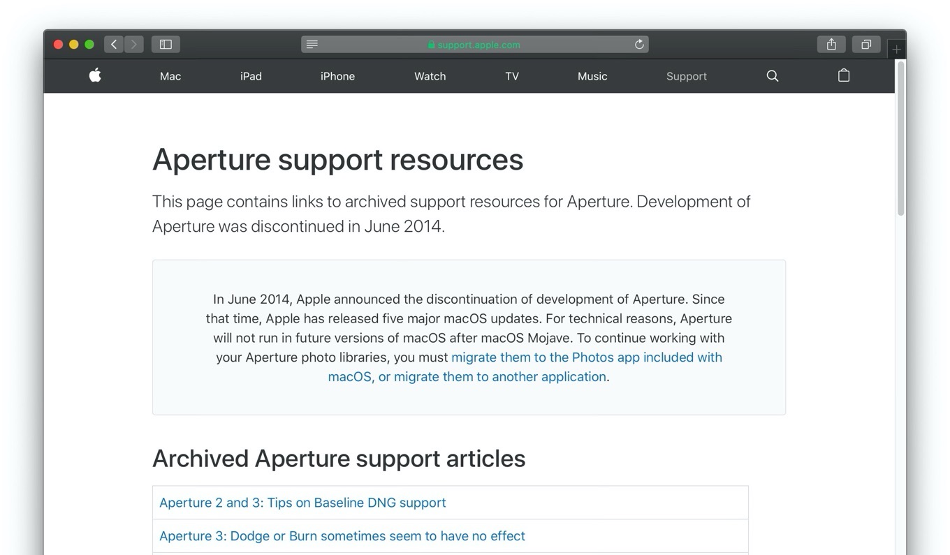 Aperture support resources
