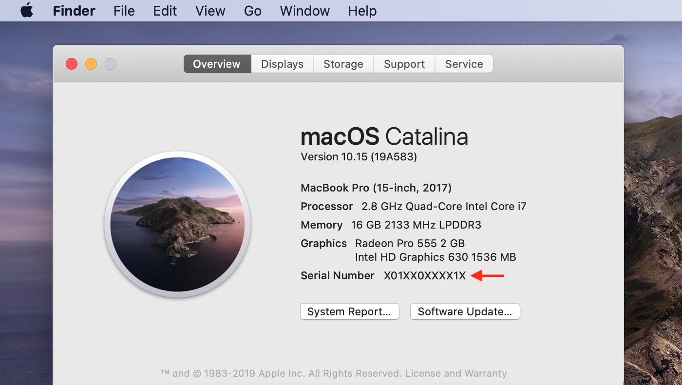 Macのシリアルナンバー