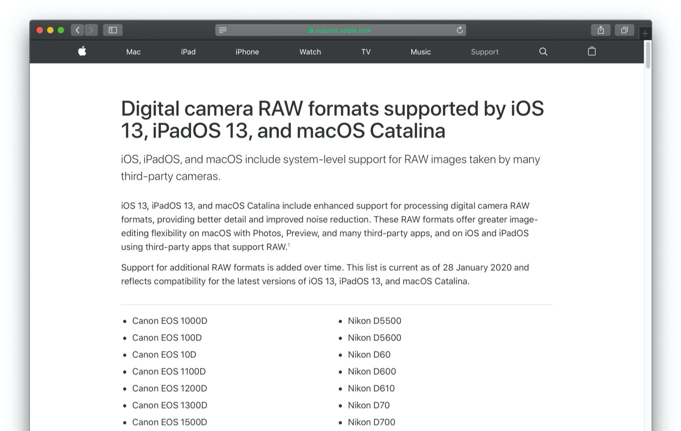 Digital camera RAW formats supported by iOS 13, iPadOS 13, and macOS Catalina