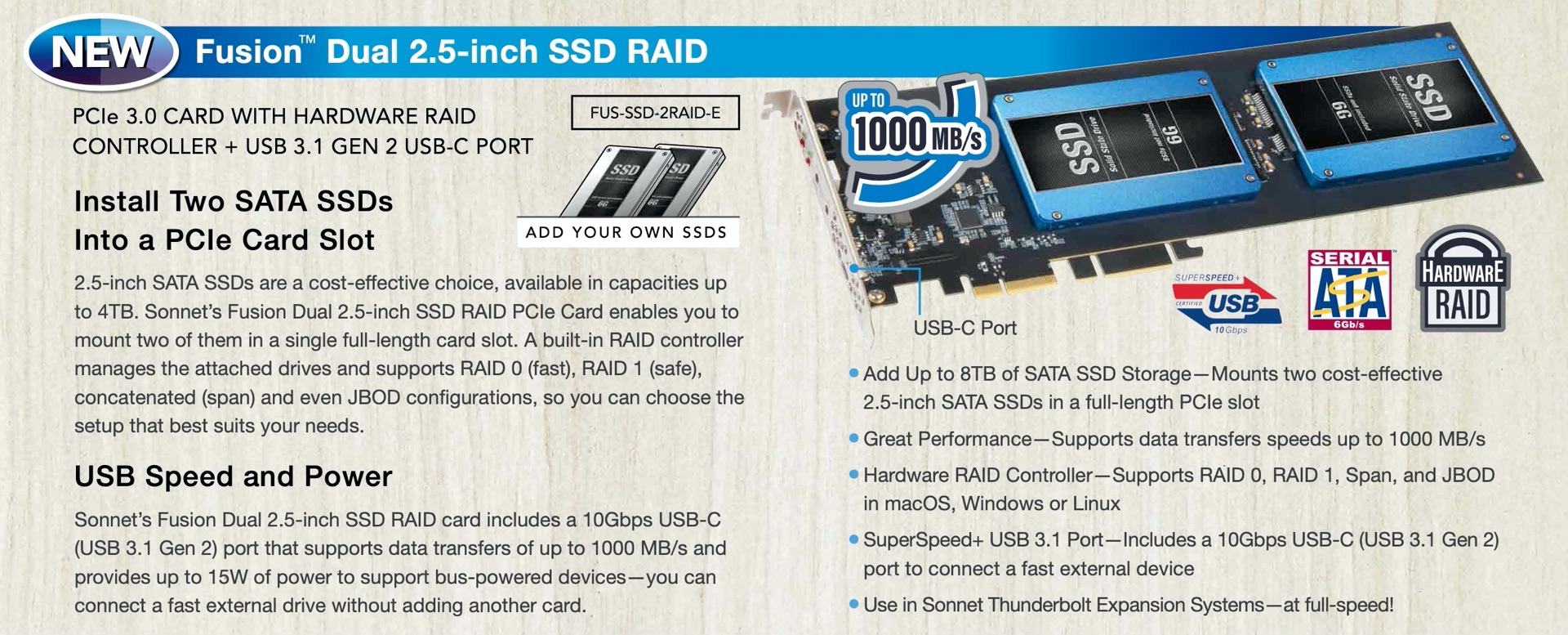 Fusion Dual 2.5-Inch SSD RAID Card OverView