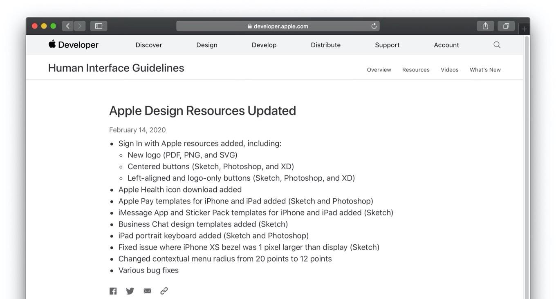 Apple Design Resourcesのアップデート