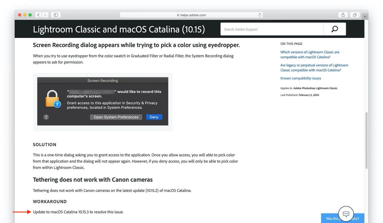macOS 10.15.3 CatalinaのAdobe LightroomでCanonのデジタル一眼レフカメラをサポート