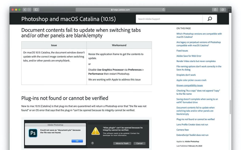 macOS 10.15 CatalinaのPhotoshopでドキュメントが空になる不具合