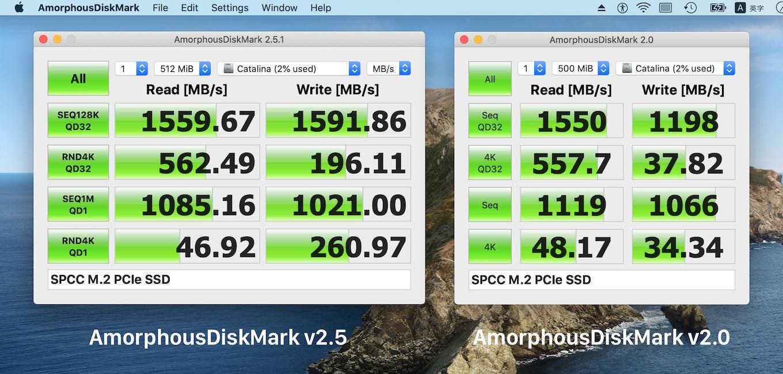 AmorphousDiskMark v2.5とv2.0