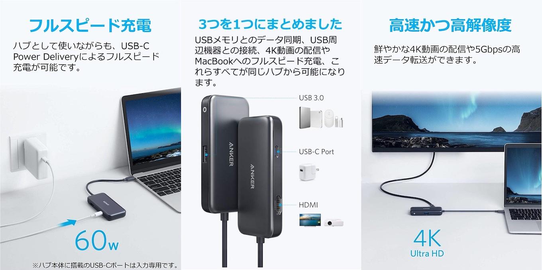 Anker 3-in-1 プレミアム USB-Cハブ