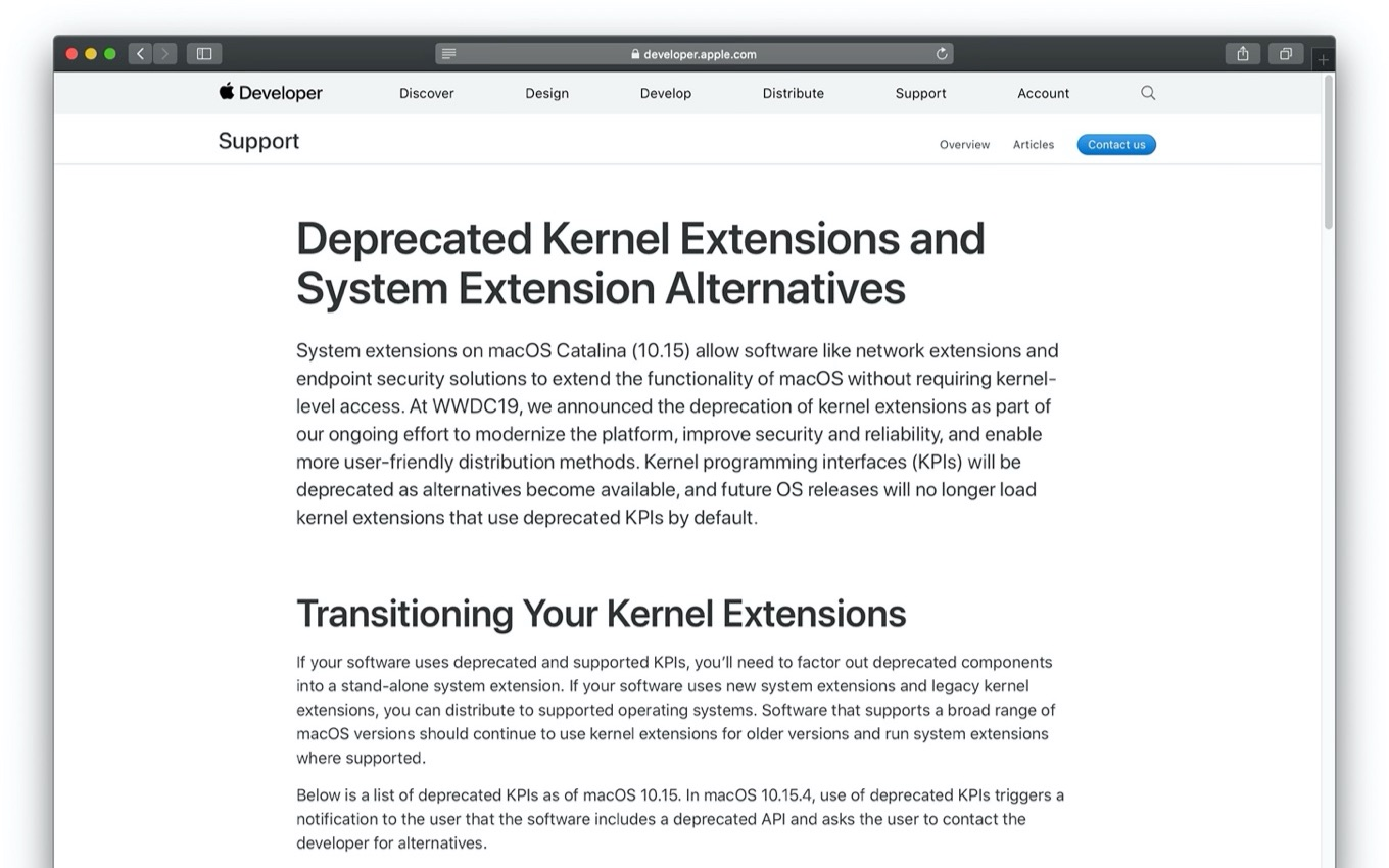 macOS 10.15 Catalina and Kernel Extensions