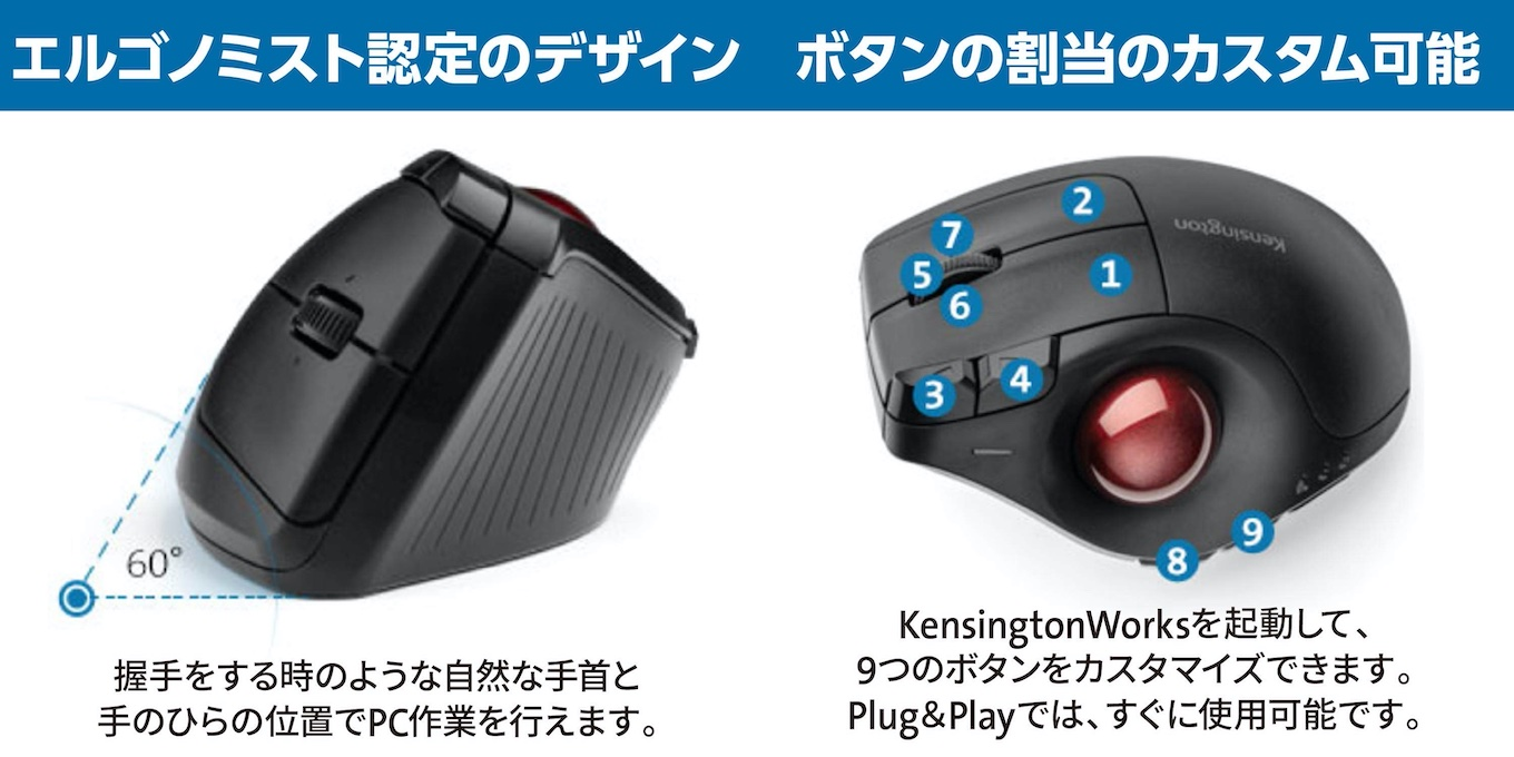 Pro Fit® Ergo Vertical Wireless Trackballの特徴