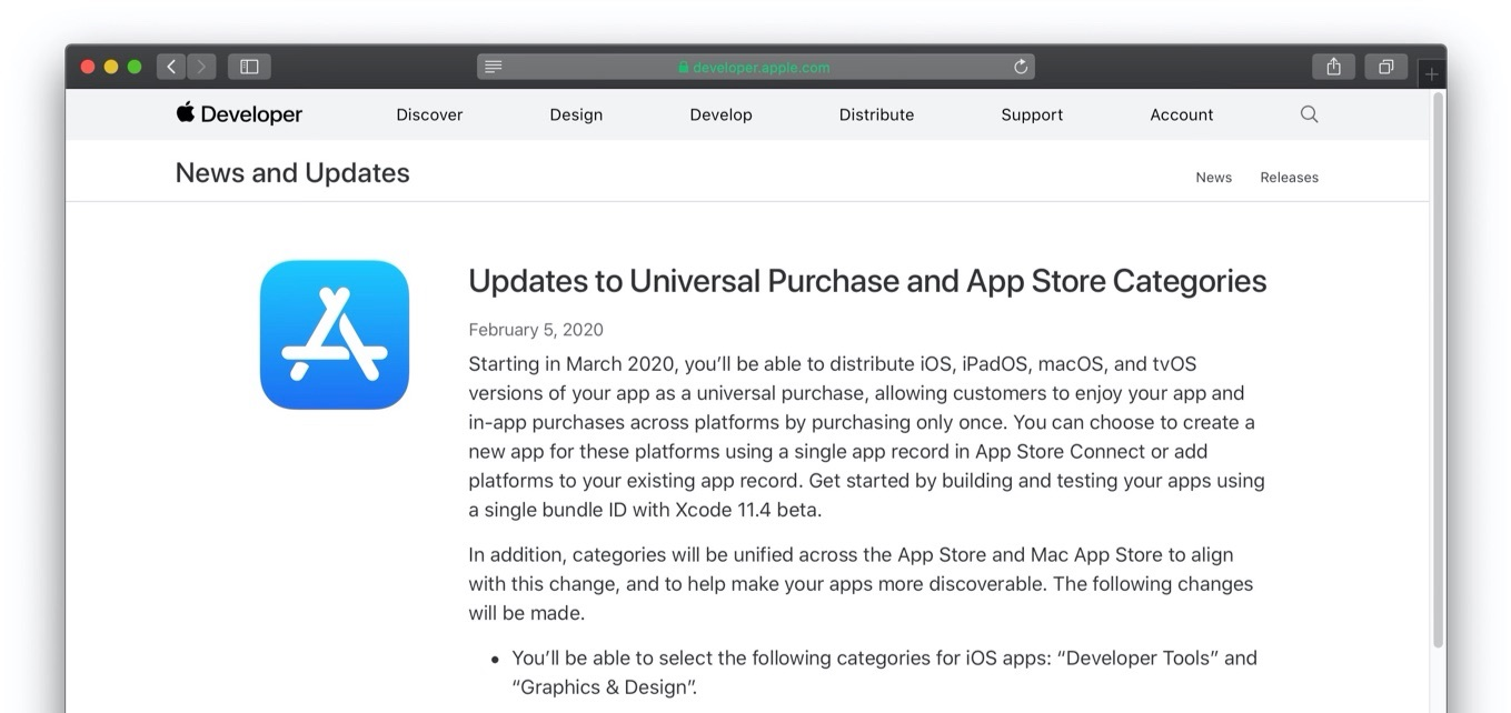 Updates to Universal Purchase and App Store Categories