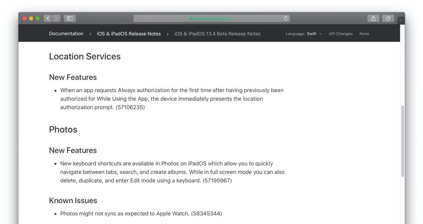 iOS 13.4の写真アプリ