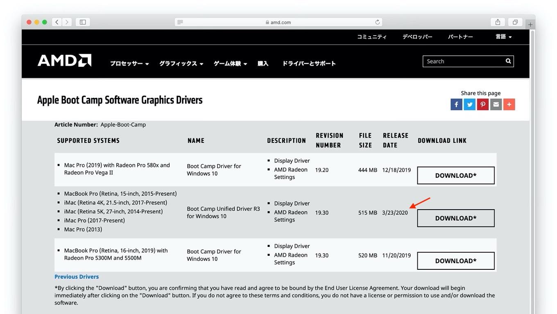 2020年03月23日 リリース AMD Boot Camp Unified Driver R3 for Windows 10
