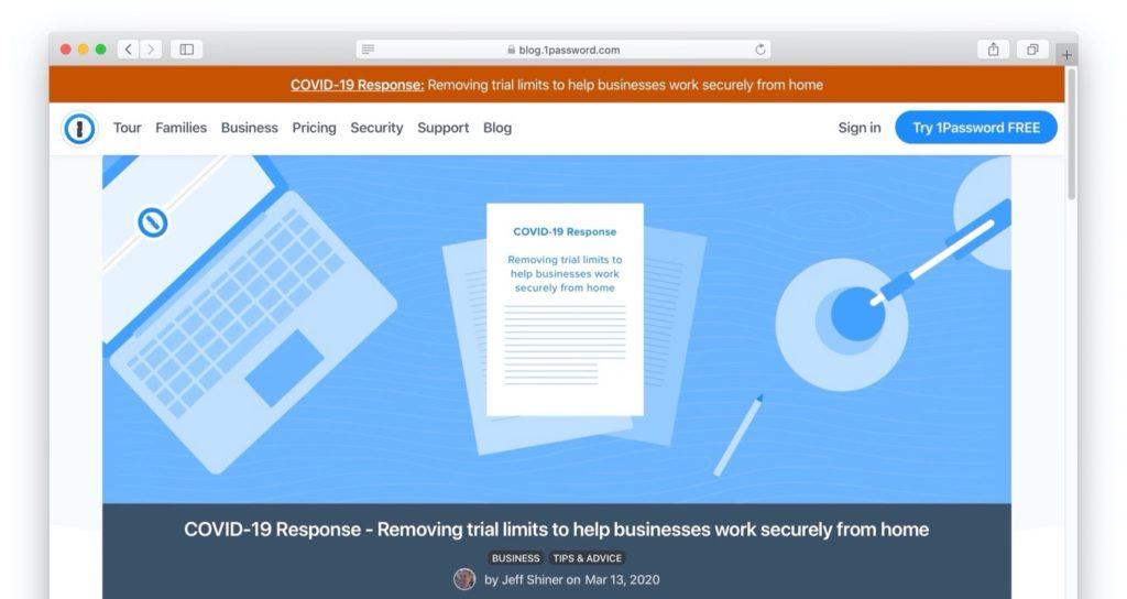 COVID-19 Response 1Password by AgileBits
