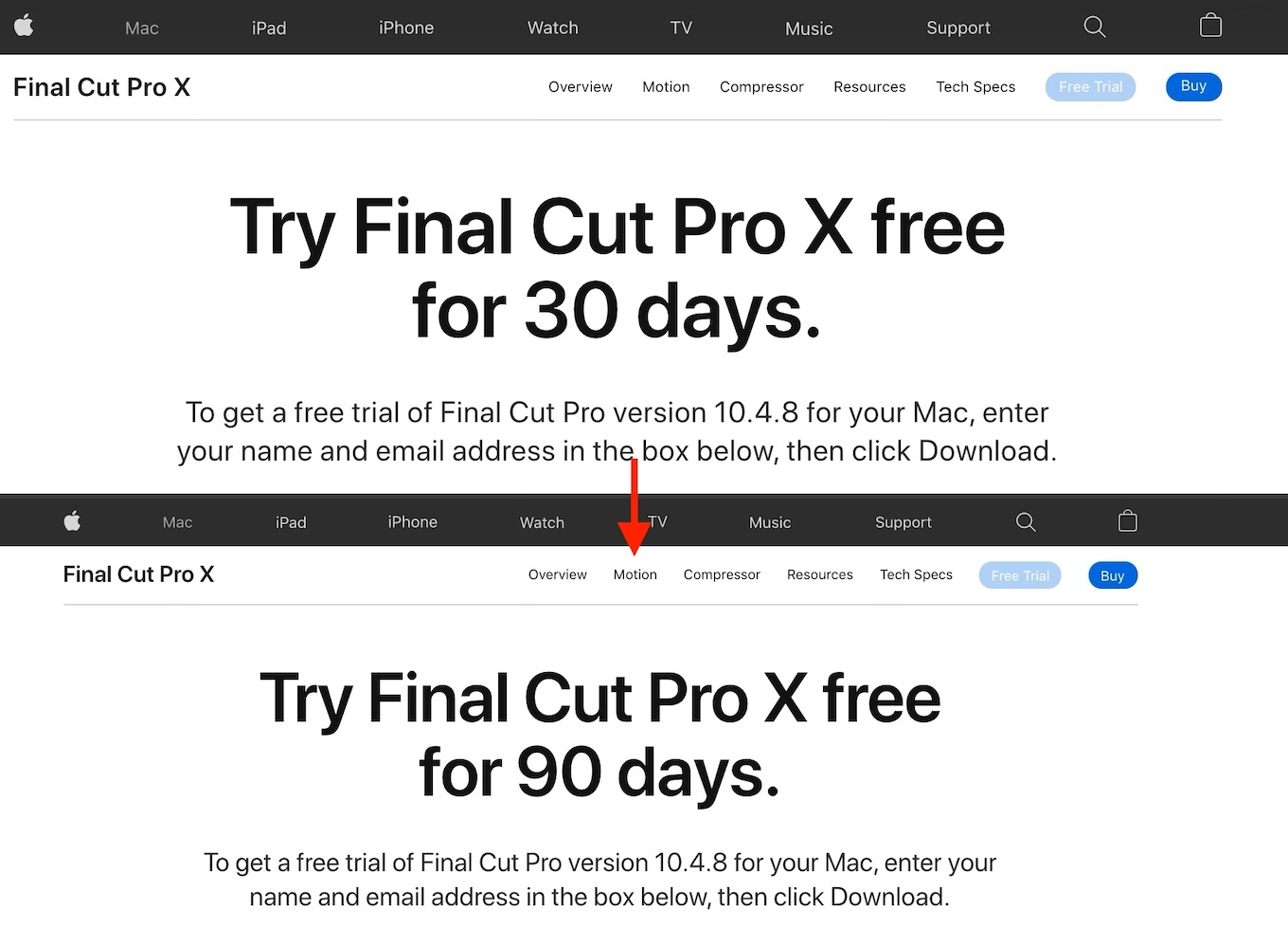 Final Cut Pro X free trial update