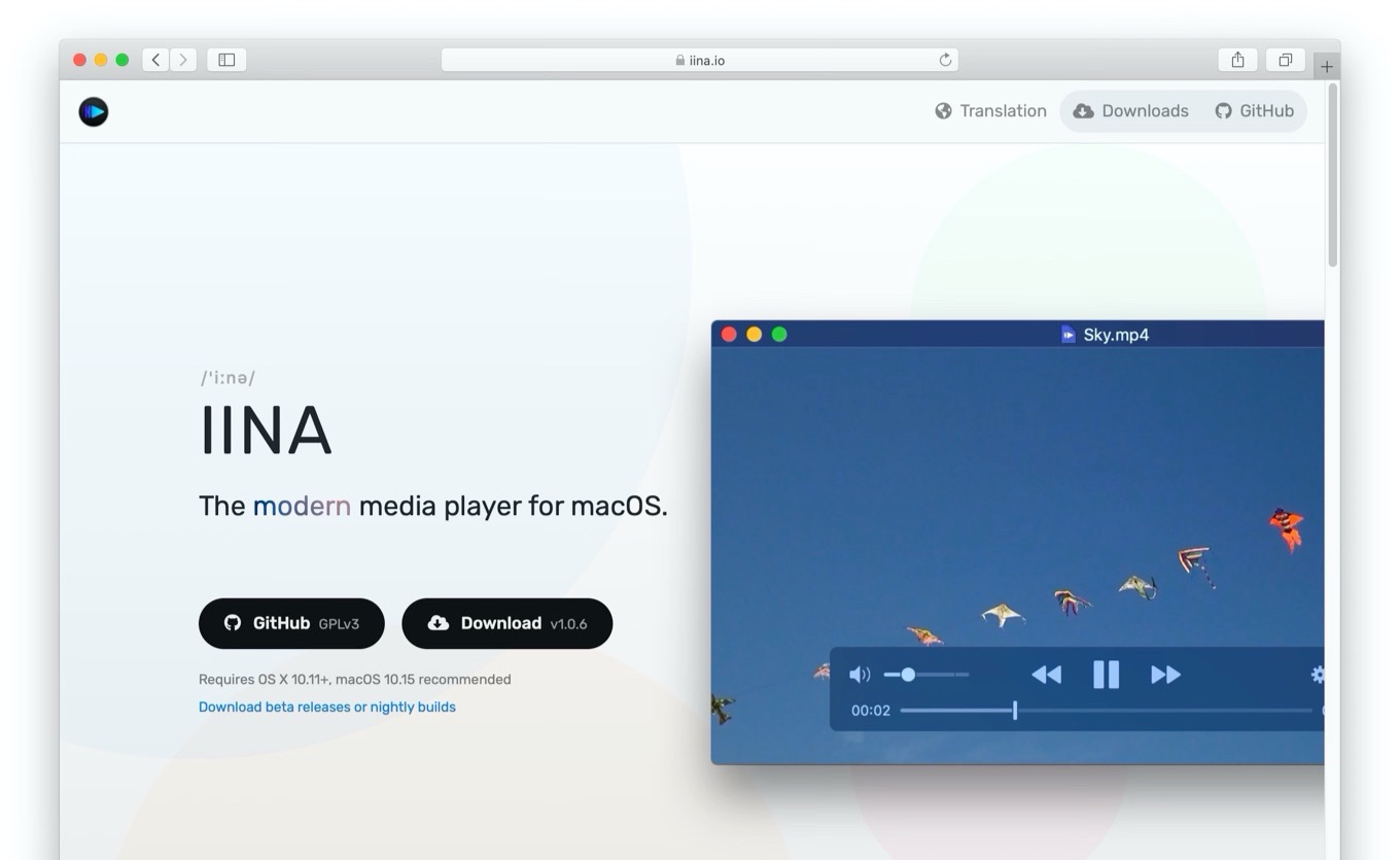IINA The modern media player for macOS Web site