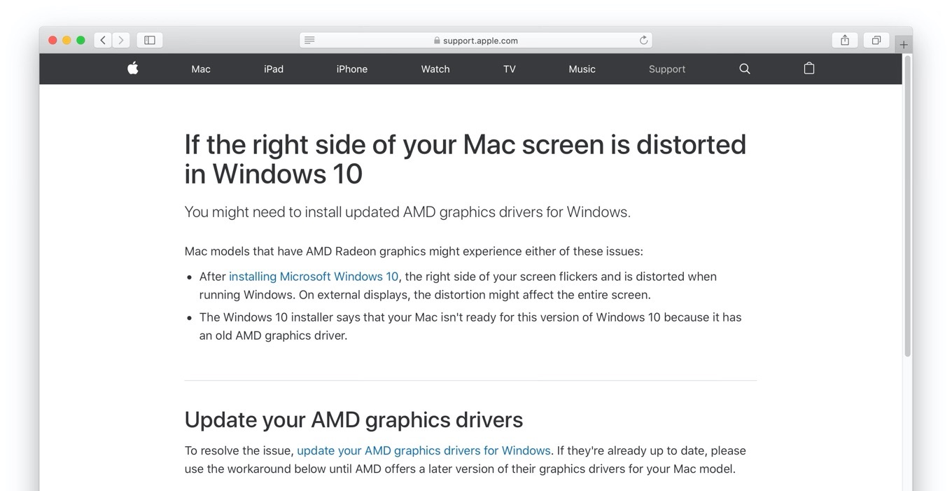 If the right side of your Mac screen is distorted in Windows 10