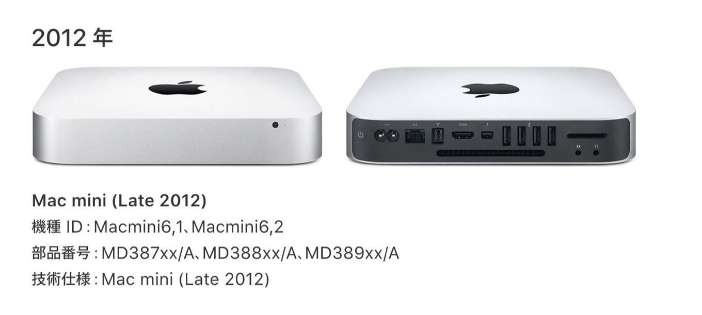 Mac mini Late 2012のスペック