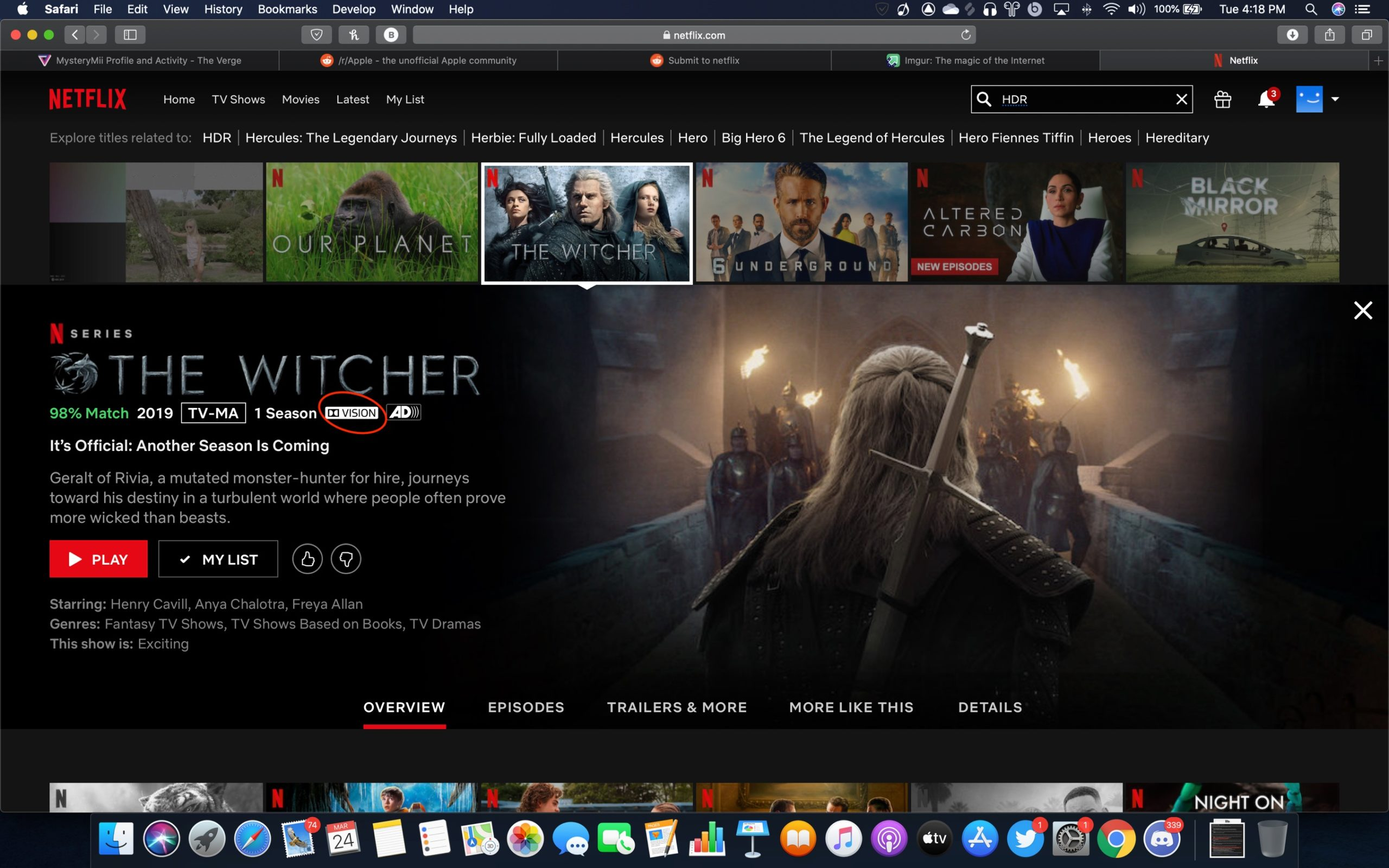 Netflix HDR playback on Safari