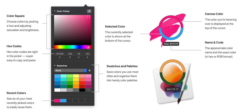 Pixelmator Pro 1.6 Magentaのカラーピッカー
