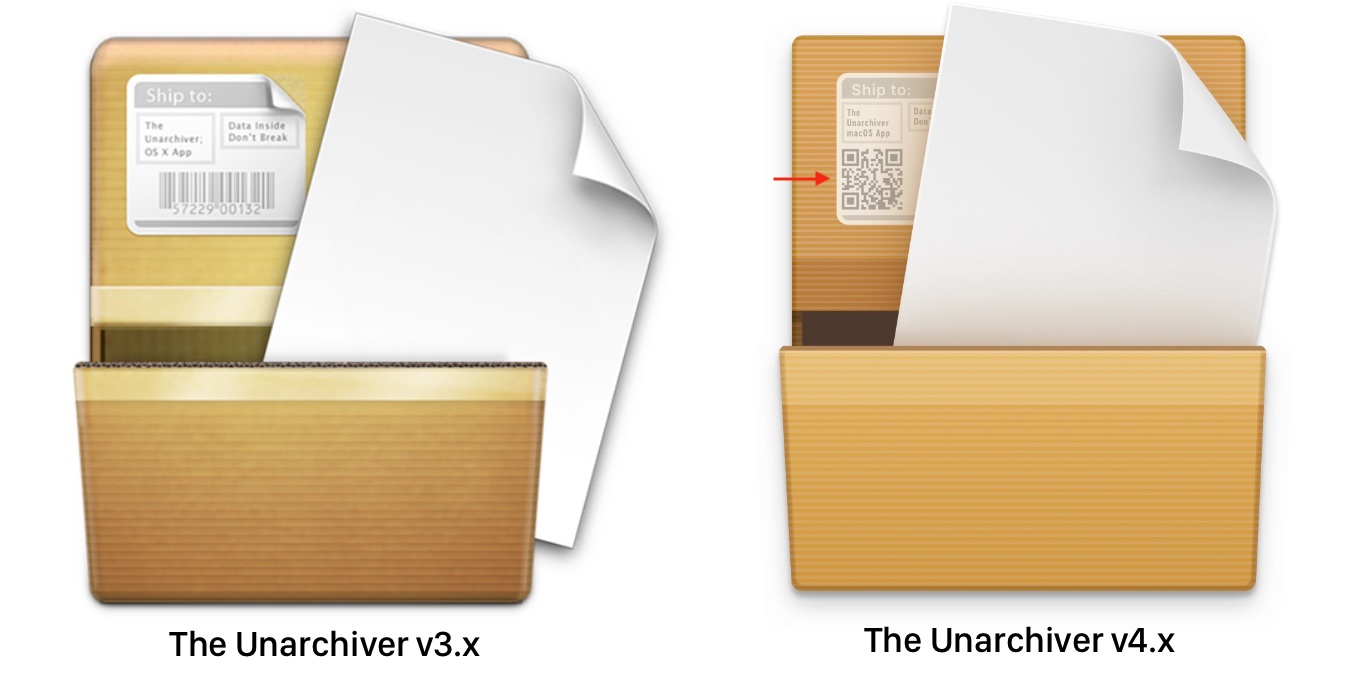 The Unarchiver v3.xとv4.xのアイコンの比較