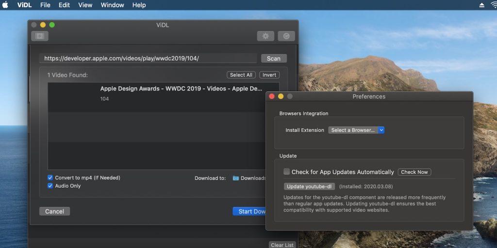ViDL for Macのオプション