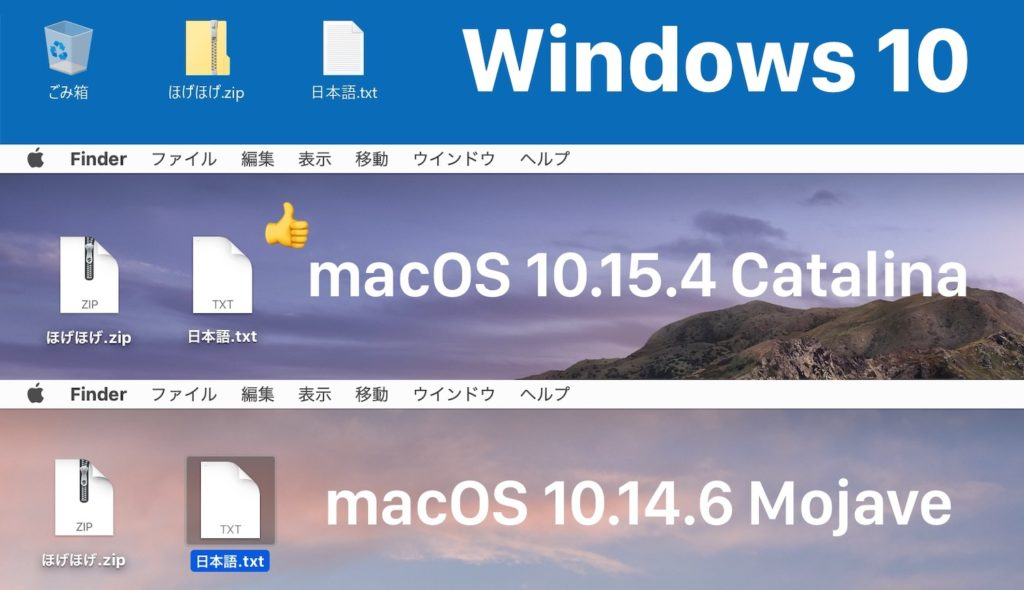 macOS 10.15.4 Catalina unzip include japanese