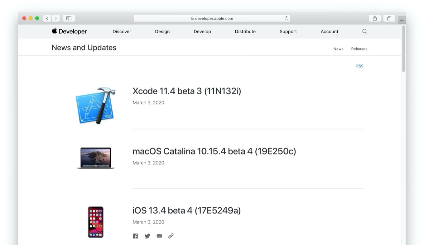 macOS Catalina 10.15.4 beta 4 (19E250c)