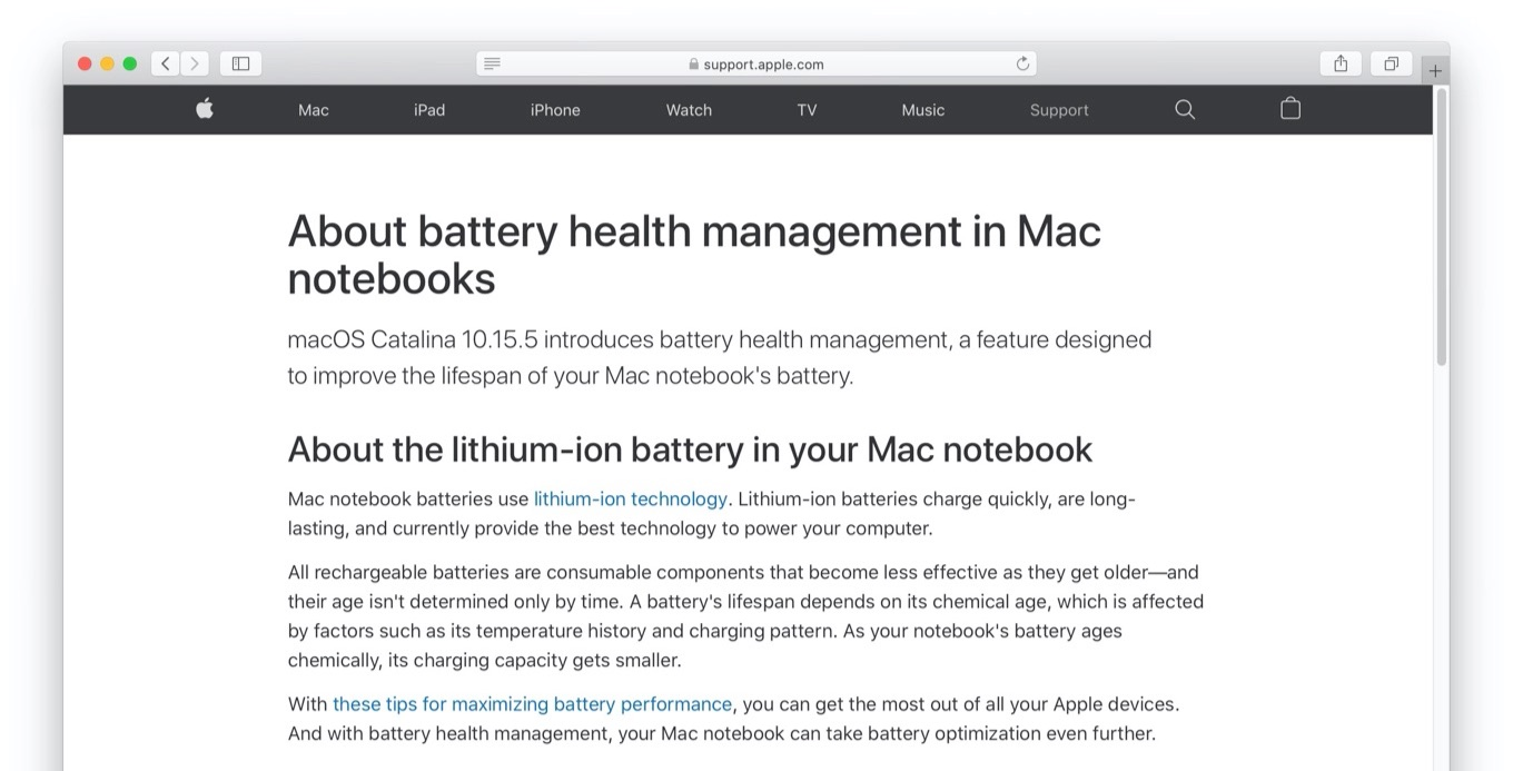 About battery health management in Mac notebooks
