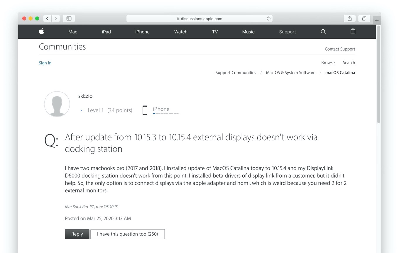 After update from 10.15.3 to 10.15.4 external displays doesn't work via docking station