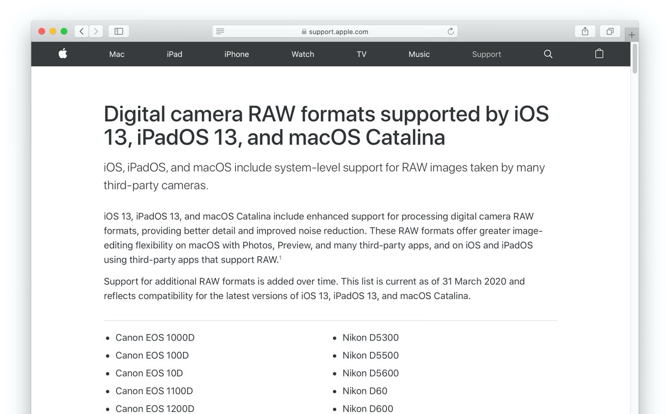 Digital camera RAW formats supported by iOS iPadOS 13, and macOS Catalina