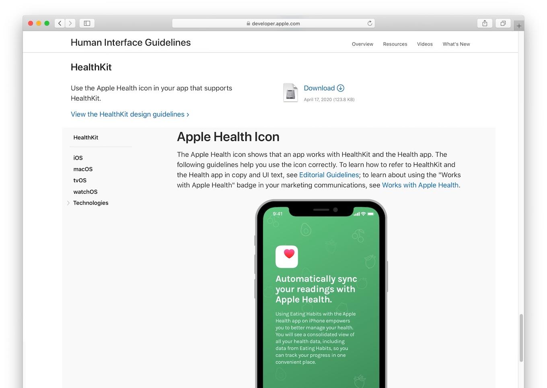 Human Interface GuidelinesのApple Health and HealthKit