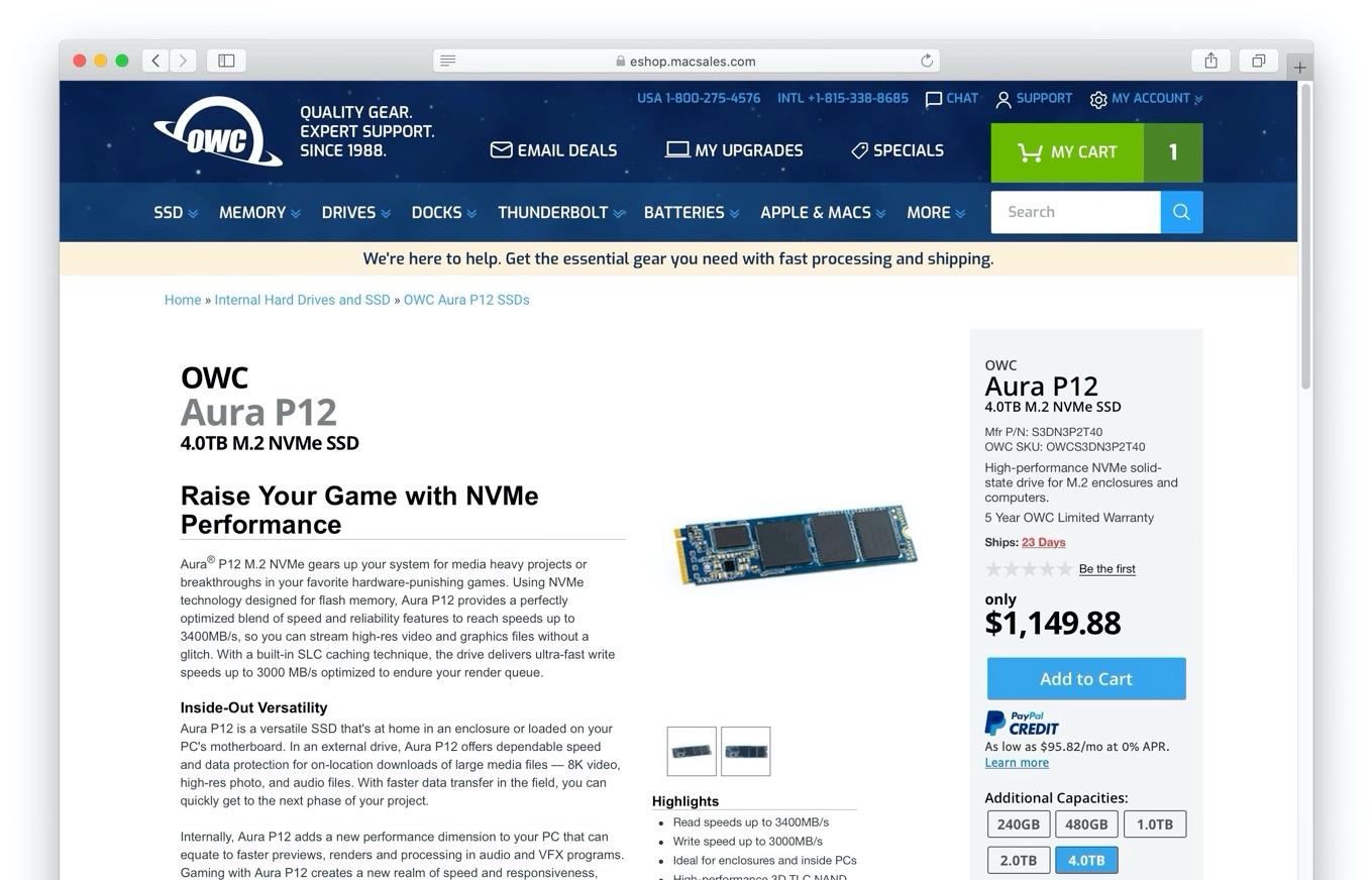 4TB Aura P12 M.2 NVMe SSDs