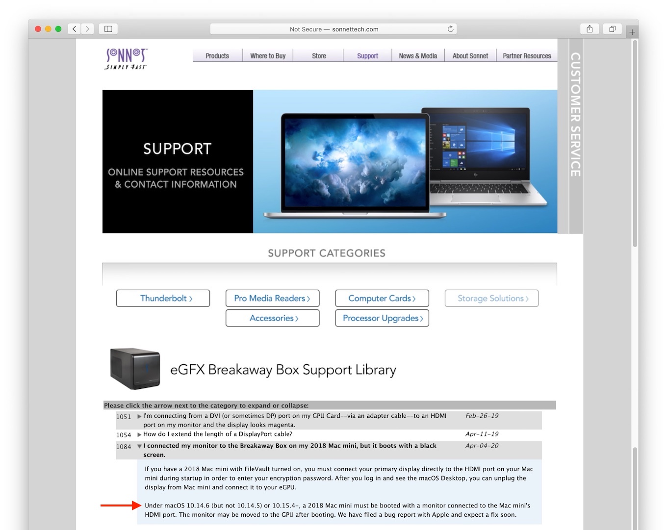 Sonnet Support Knowledge Base for macOS Catalina eGPU