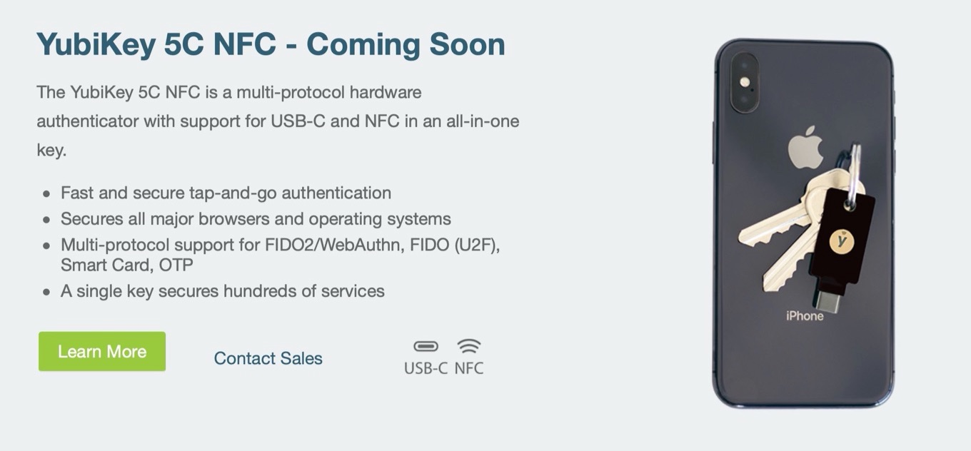 YubiKey 5C NFC - Coming Soon