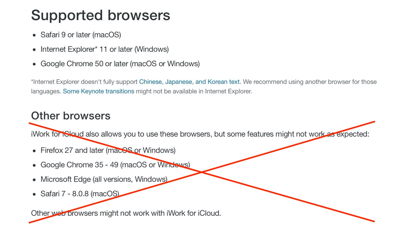 Other web browsers might not work with Pages, Numbers, or Keynote for iCloud.