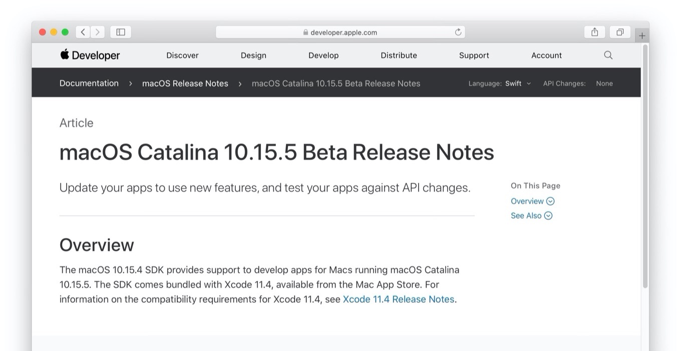 macOS Catalina 10.15.5 Beta Release Notes