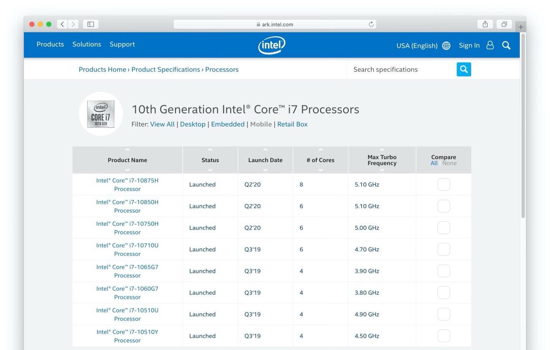 10th Generation Intel® Core™ i7 Processors