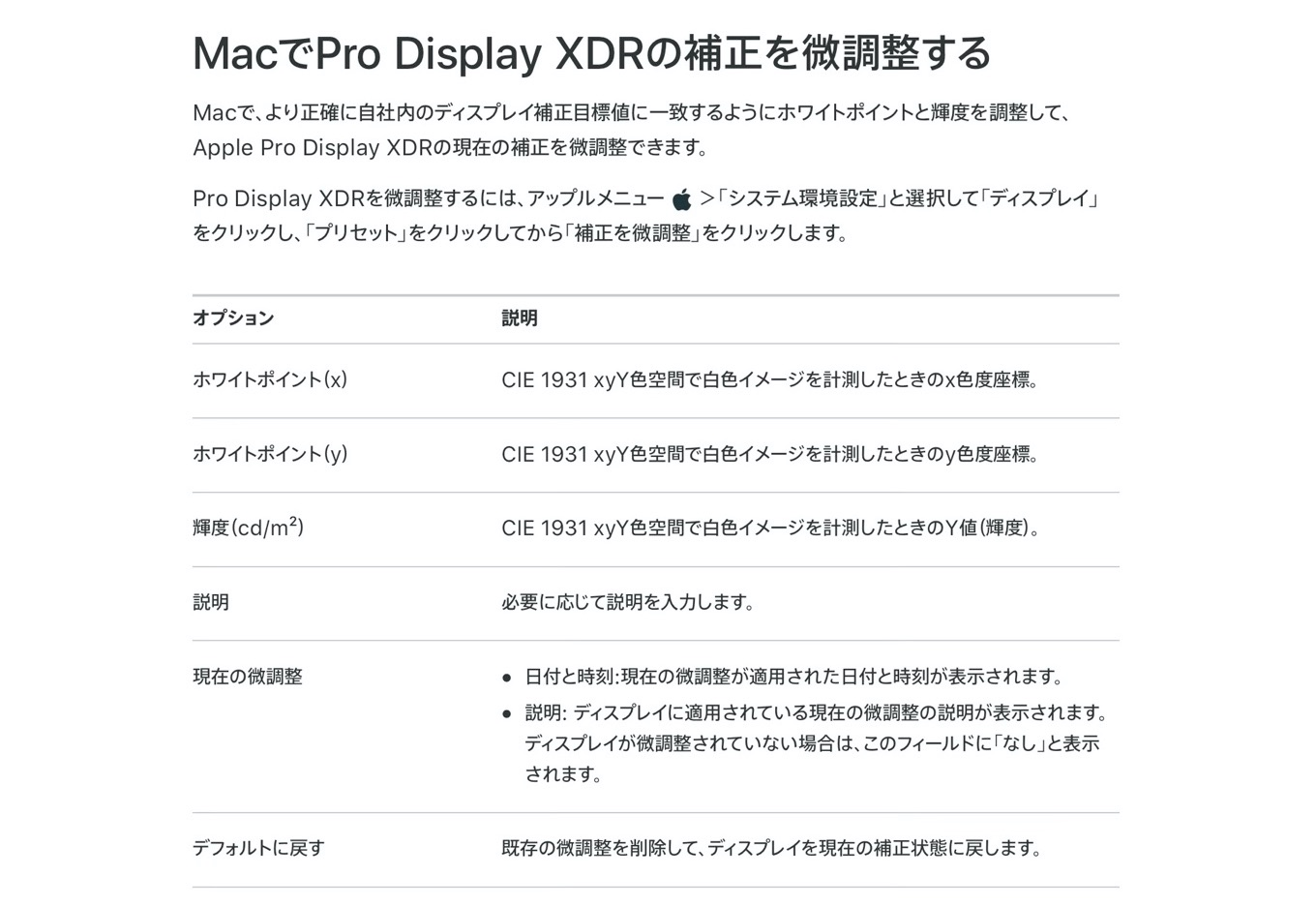 Apple Pro Display XDRの補正の微調整