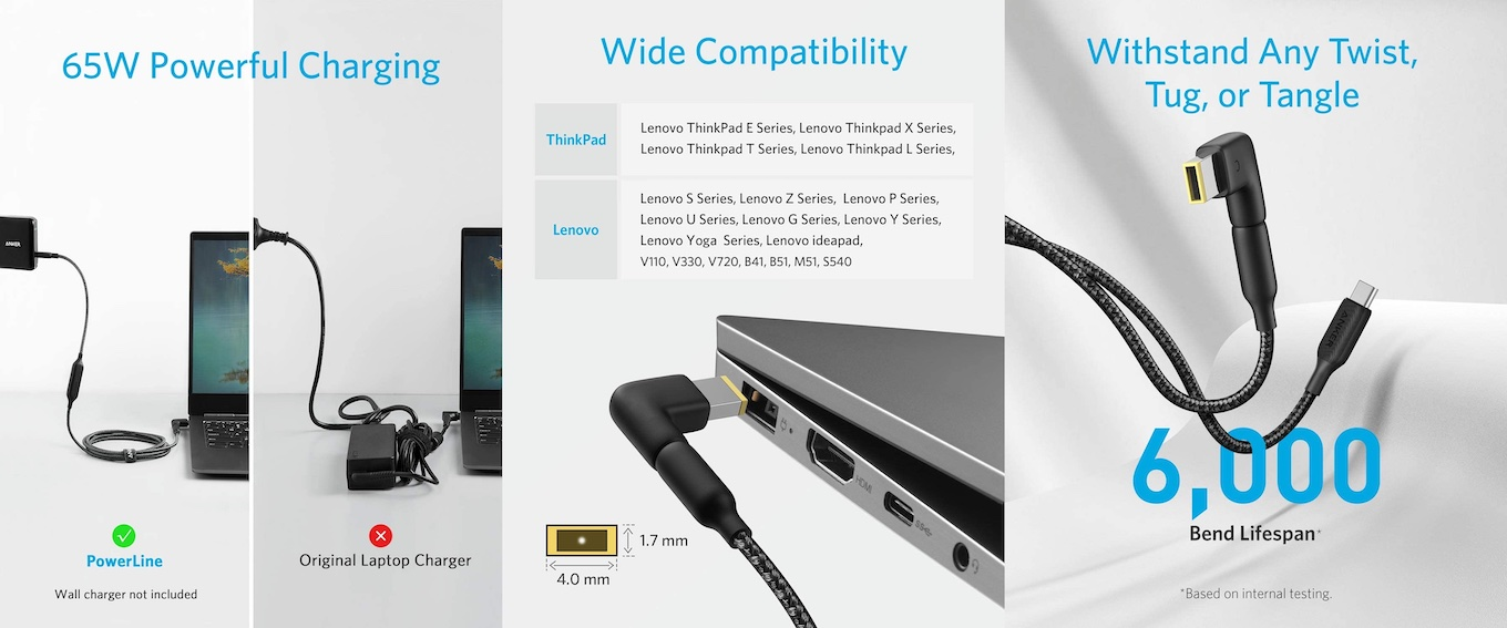 Lenovo ThinkPad 角型用Anker PowerLine USB-C to DC Cable