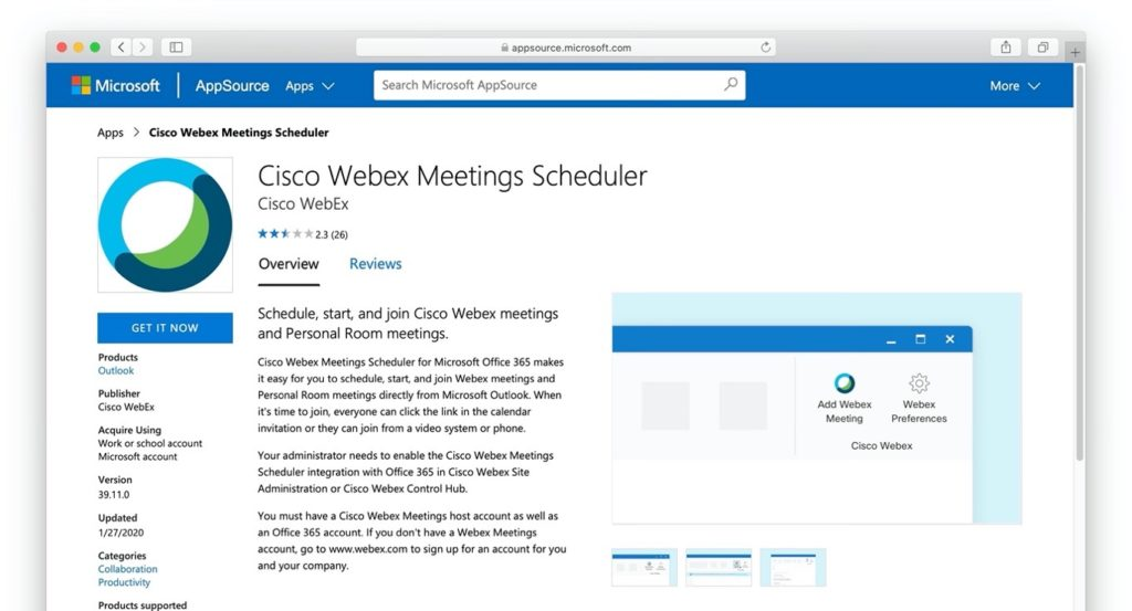 Cisco Webex Meetings Scheduler Outlook for Mac