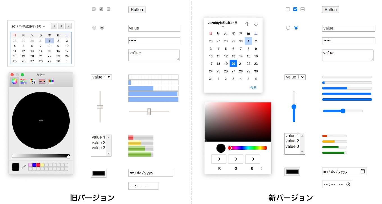 Chrome v83の新しいform controls