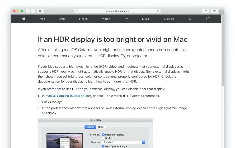 Macに接続されたディスプレイで明るさや色合いが変更される不具合