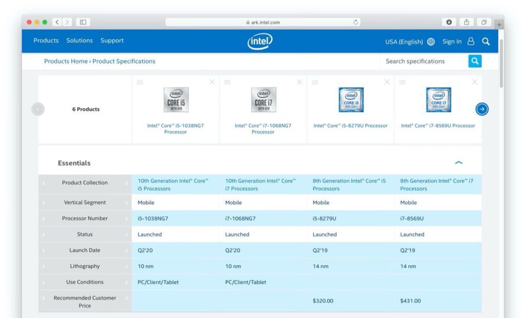 Intelの第10世代Core i5-1038NG7/i7-1068NG7