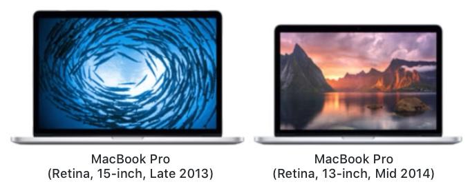 MacBook Pro (Retina, 15-inch, Late 2013)とMacBook Pro (Retina, 13-inch, Mid 2014)