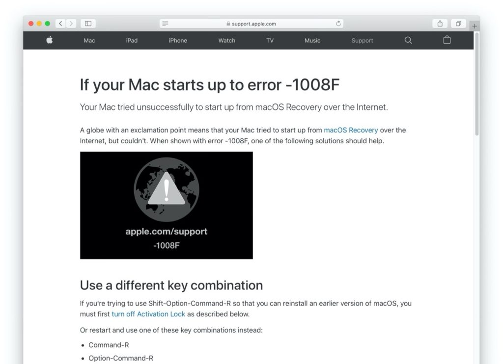 If your Mac starts up to error -1008F