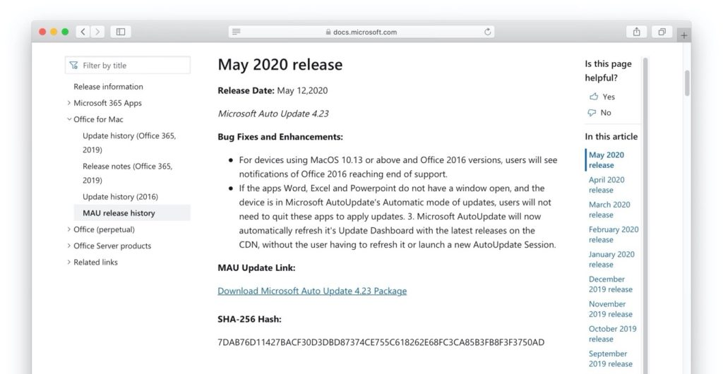 Microsoft AutoUpdate May 2020 release